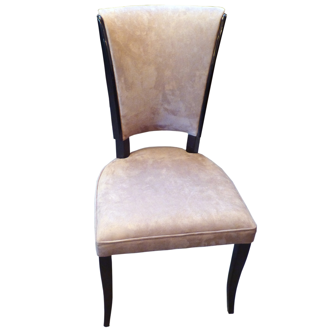 3171 Sechs Original Art Deco Stühle aus Frankreich - vollständig restauriert in schwarz hochglanz, poliert
