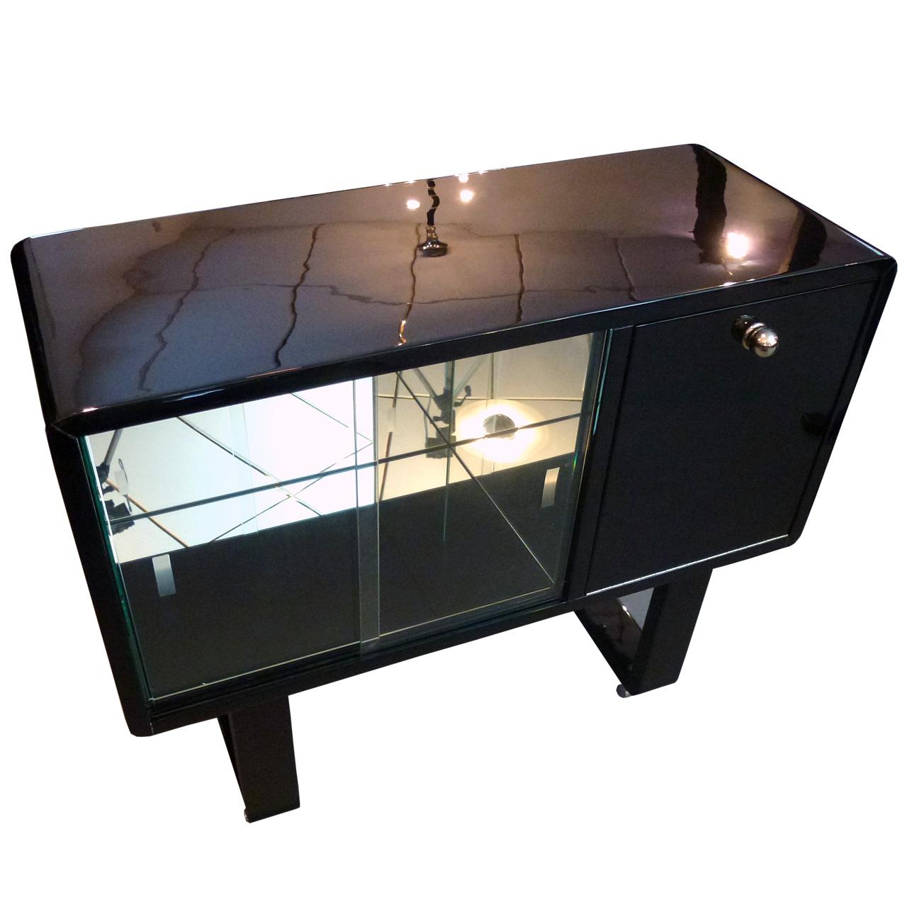 2093 Art Deco Barmöbel in schwarz hochglanz, Original aus Frankreich