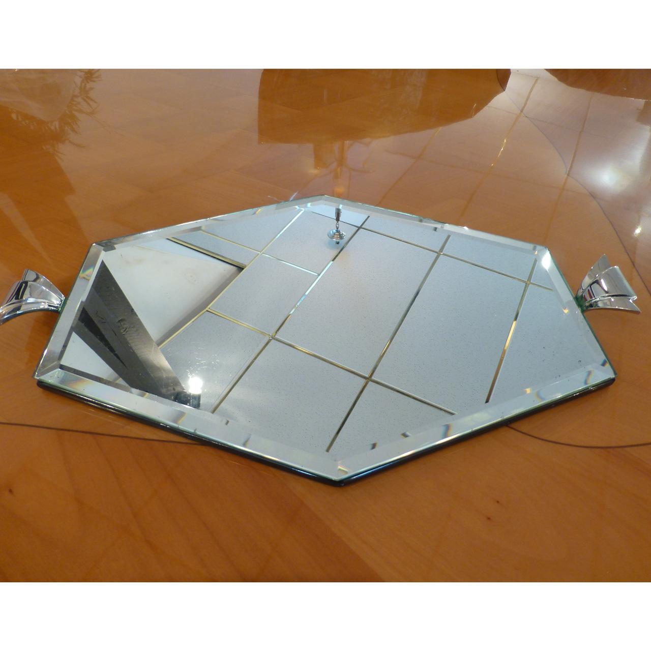 0048 Art Deco Spiegeltablett mit Facettenschliff, original mit leichten Gebrauchsspuren