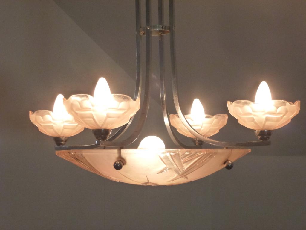 1013 Art Deco Deckenlampe, Originalzustand, Degue