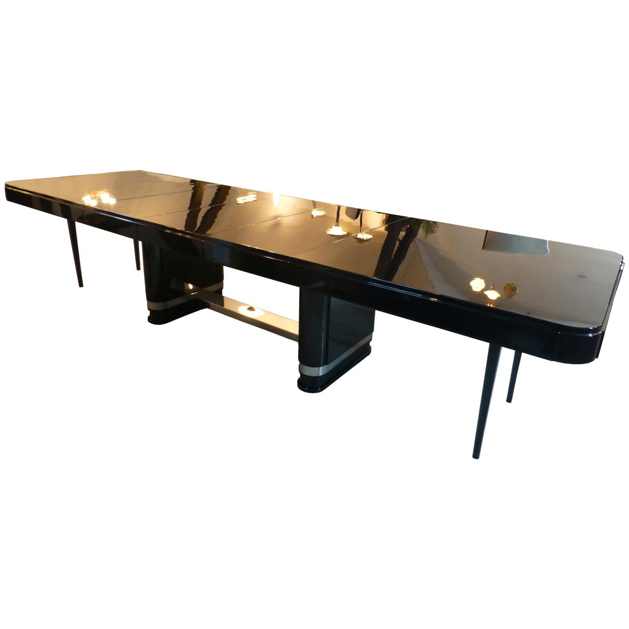3294 Originaler Art Deco Tisch mit 3 Einlegeplatten bis 370 cm ausziehbar, Frankreich 1930er Jahre, hochwertig restauriert