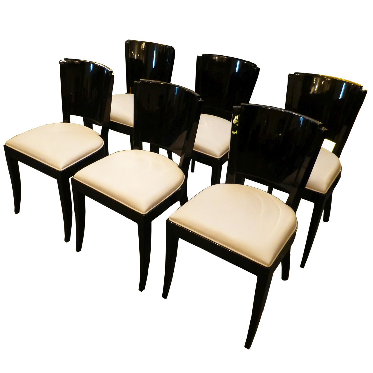 3170 6 Art Deco Stühle mit creme-weissem Leder, aus Frankreich, schwarz hochglanz poliert