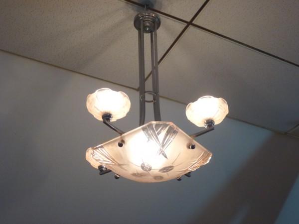 Art Deco Deckenlampe, ca. 1925, Original Zustand, signiert Degue ...