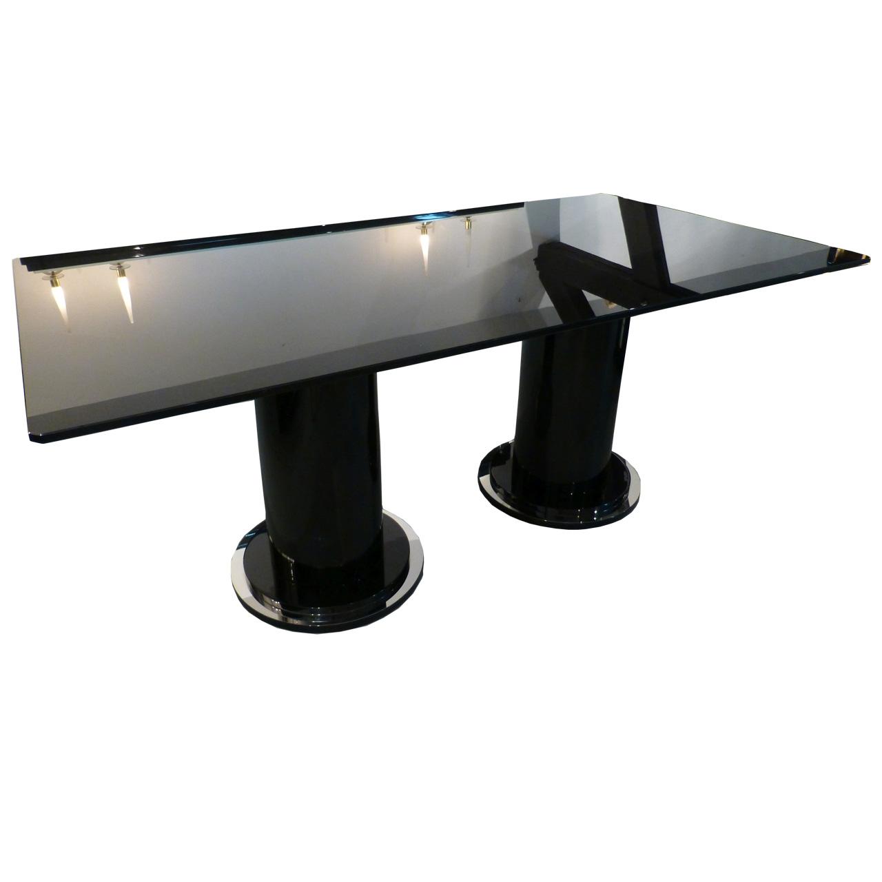 3309 Art Deco Tisch 95 cm  x 180 cm mit Glasplatte aus schwarzem Glas 15 mm stark