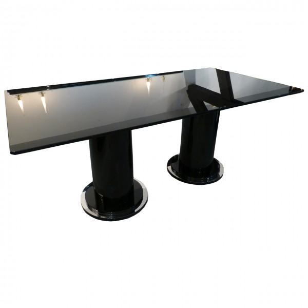 Art Deco Tisch mit Glasplatte 95 cm  x 180 cm, Glasplatte 15 mm schwarz