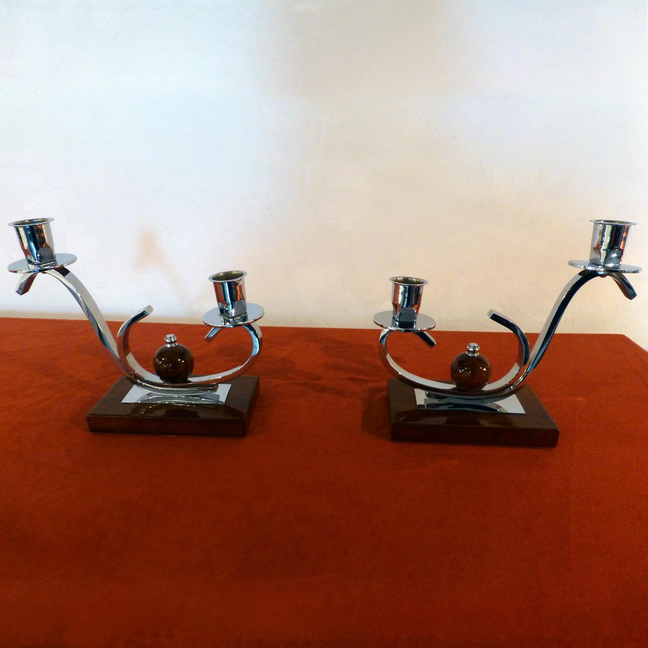 0059 Art Deco Kerzenständer, Paar, hochwertig restauriert