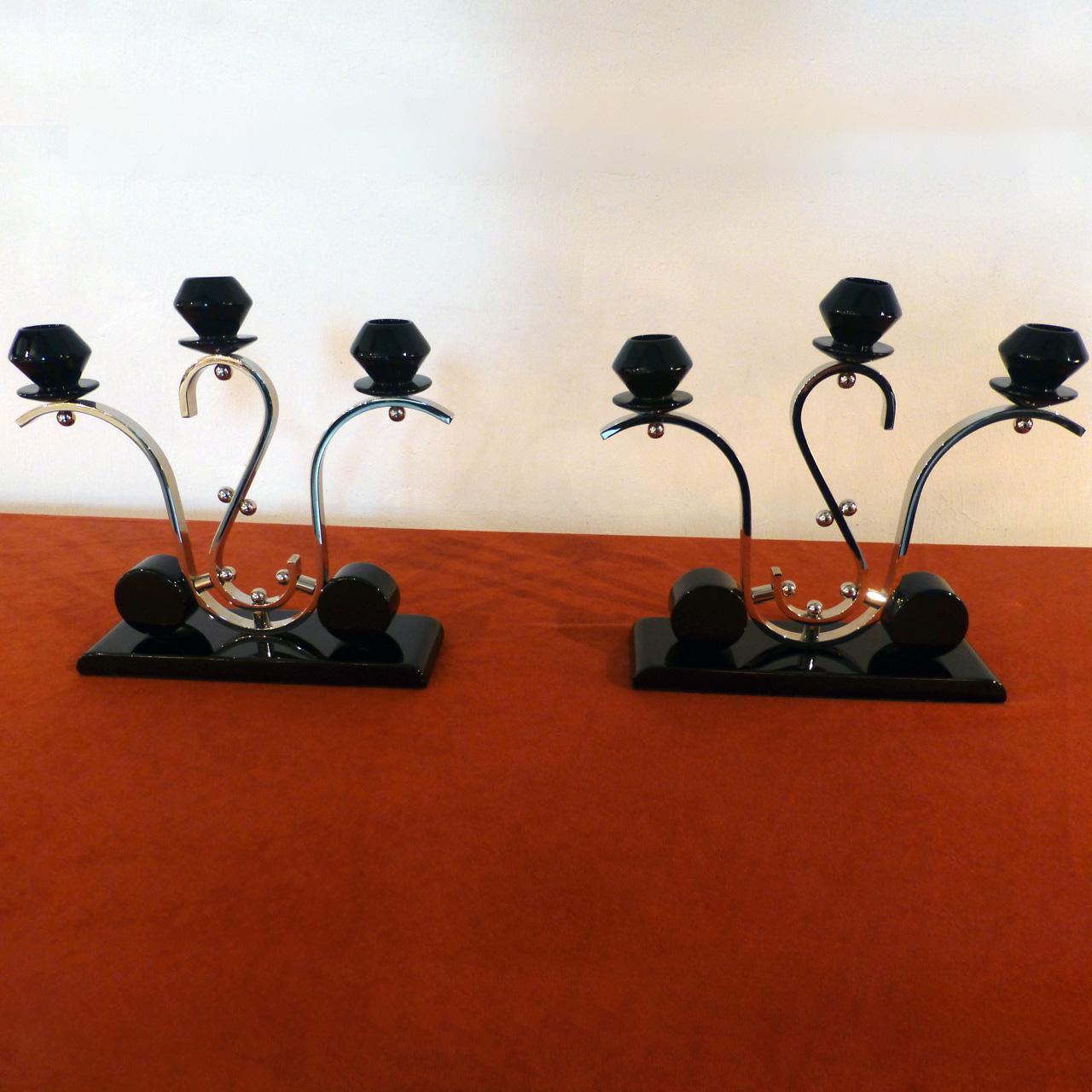 0060 Art Deco Kerzenständer, Paar, dreiarmig, professionell restauriert