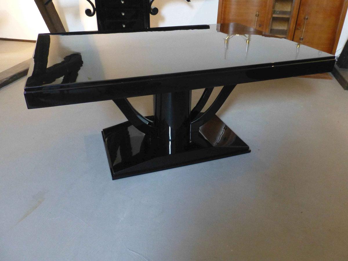 3220 Original Art Deco Tisch aus Frankreich, schwarz hochglanz, poliert