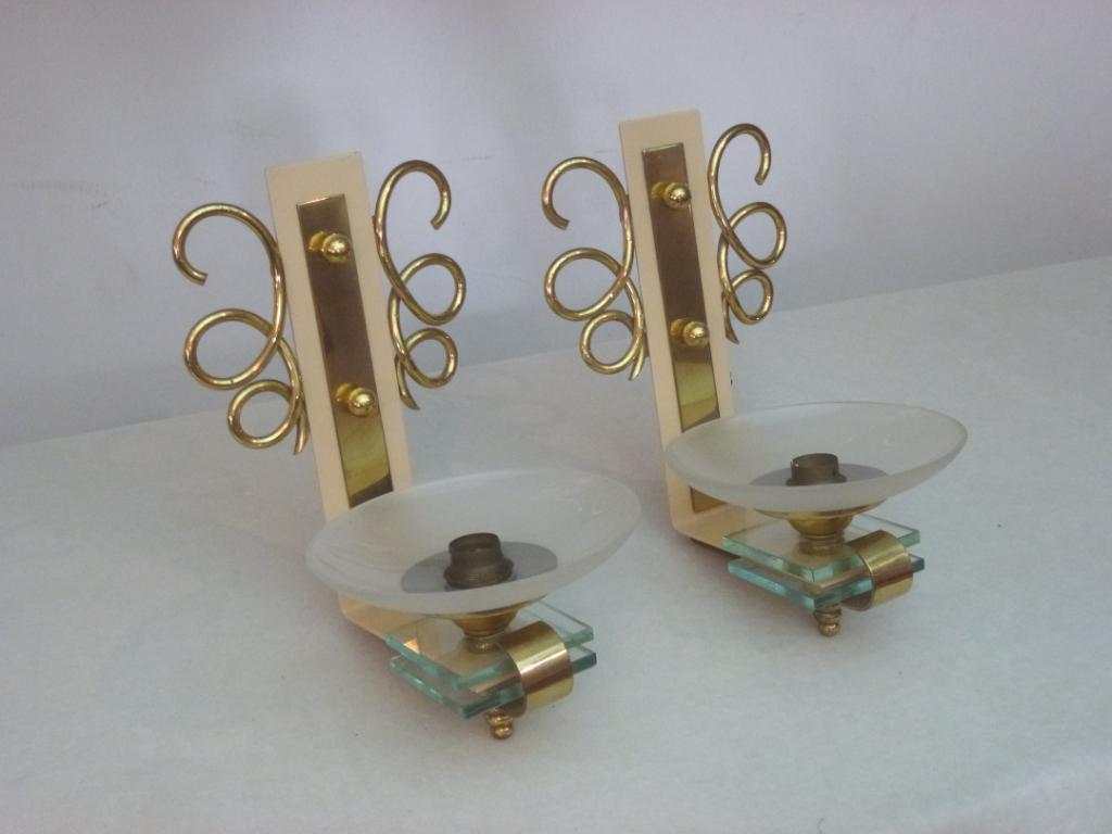 Original Art Deco Wandlampen Frankreich, 30er Jahre