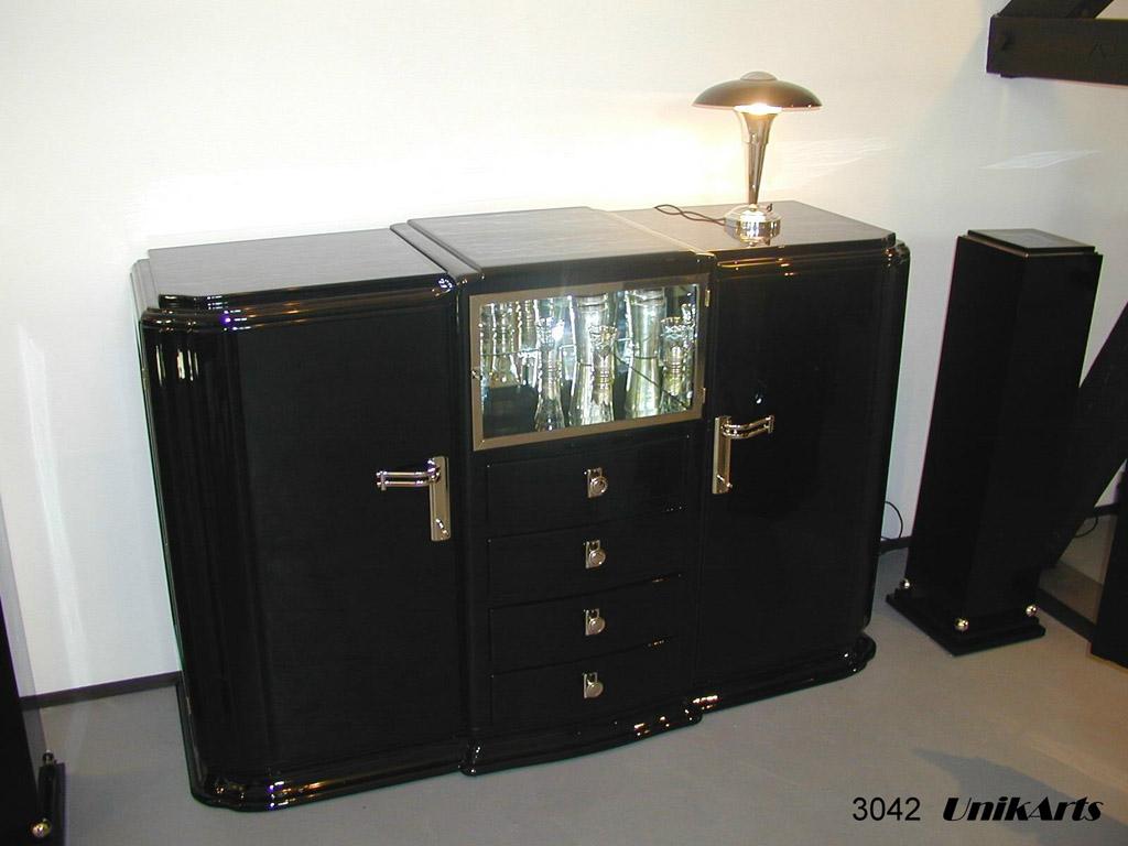 3042 Art Deco Sideboard mit verspiegelter Vitrine, Frankreich, 30er Jahre